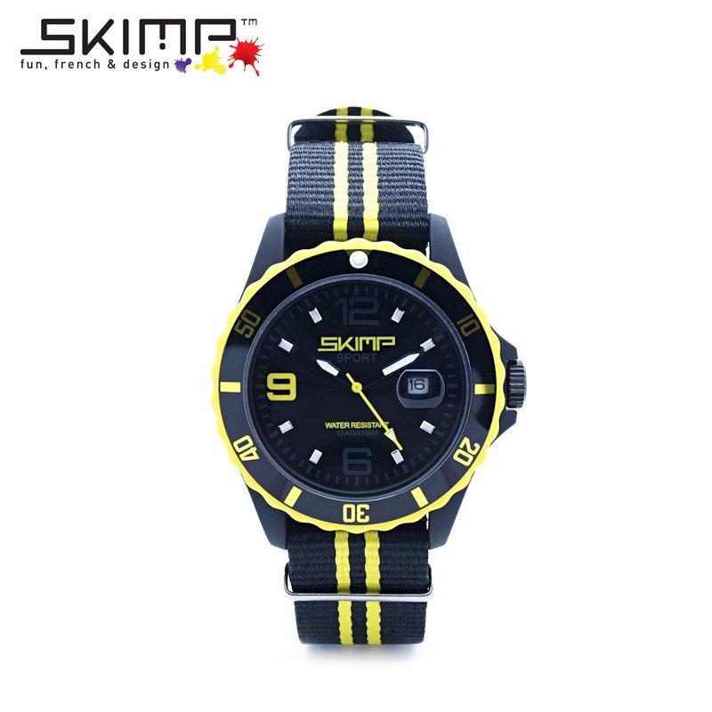腕時計 メンズ 大人 ゴルフ ブランド スポーツウォッチ ビジネス NATOベルト ミリタリー 乗馬 ジム スポーティー アウトドア 10気圧防水 10ATM フランスブランド SKIMP WATCH 44mm イエロー (黄)