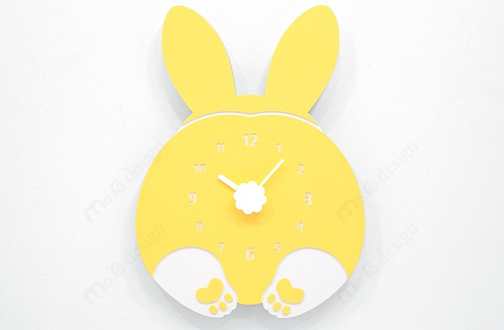 壁掛け時計 CHUBBY HIP(ウサギ)ハンドメイド プレゼント 贈り物 クロック お祝い ギフト おしゃれ 輸入 雑貨 誕生日 開店 mo:ro 動物 動物病院 動物園 子供 こども部屋 かわいい カフェ