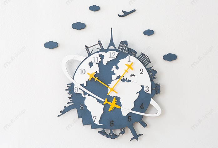 壁掛け時計 ウォールクロック 世界旅行 WORLD TOUR eco ワールドツアーエコー プレゼント 贈り物 新築 地球 お祝い 秀逸 誕生日 ギフト mo:ro ウォールステッカー かべかけ時計 まとめ買い特価 おしゃれ 子供 開店