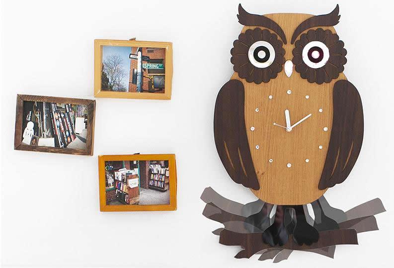 壁掛け時計 ふくろう(swing owl)ハンドメイド プレゼント 贈り物 クロック 新築 お祝い ギフト おしゃれ 誕生日 開店 振り子 動物