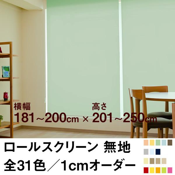 ロールスクリーン BASIC 無地(採光/ライトな遮光) 【横幅181~200cm × 高さ201~250cm】 オーダー メイド 立川機工製