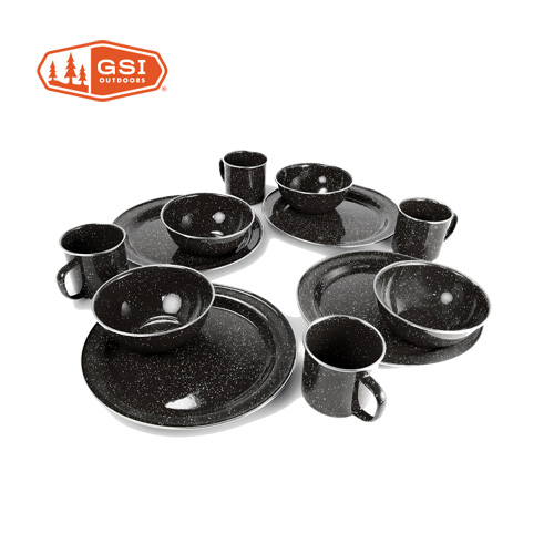 GSI ジーエスアイ PIONEER TABLE SET パイオニアテーブルセットブラック 食器 プレート カップ キャンプ 4人用 (BLACK):11871908