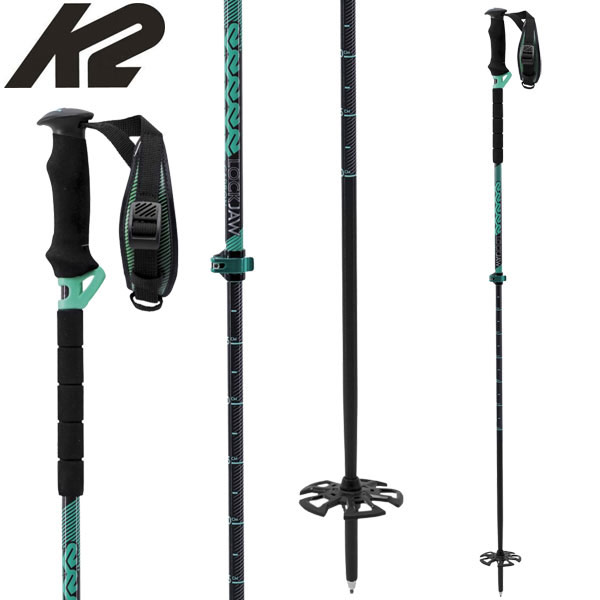 K2 ケーツー LOCKJAW CARBON ロックジョー GREEN 90-130cm スキーポール 伸縮 バックカントリー: [34SS_POLE]