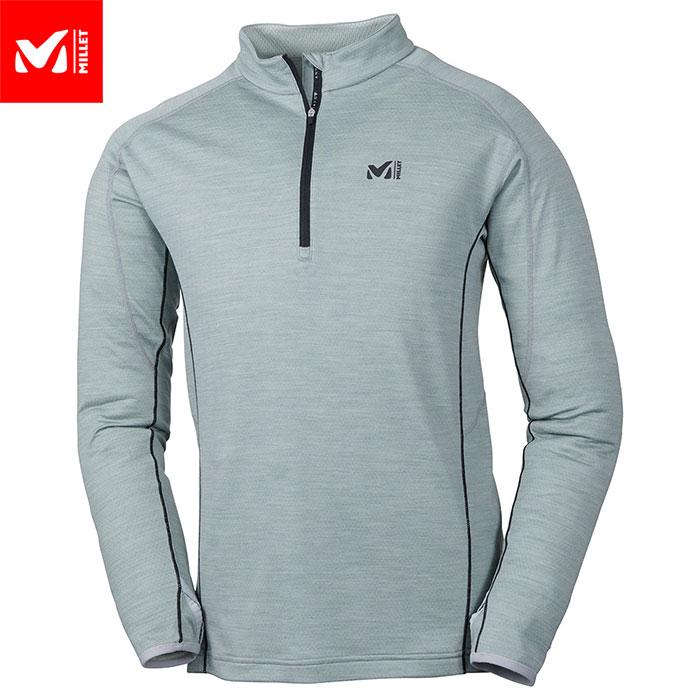 MILLET ミレー キャスターウールジップロングスリーブ CASTOR WOOL ZIPLS 2018FW ZIPシャツ カットソー MEN'S (STORMGREY):MIV01443