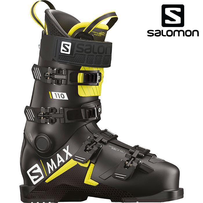 [11/16まで 10%OFFクーポンあり] SALOMON サロモン 18-19 スキーブーツ S/MAX110 エスマックス 110〔2019 スキーブーツ DEMO 基礎スキー 上級者〕 (Black-Acid Green):L40547700