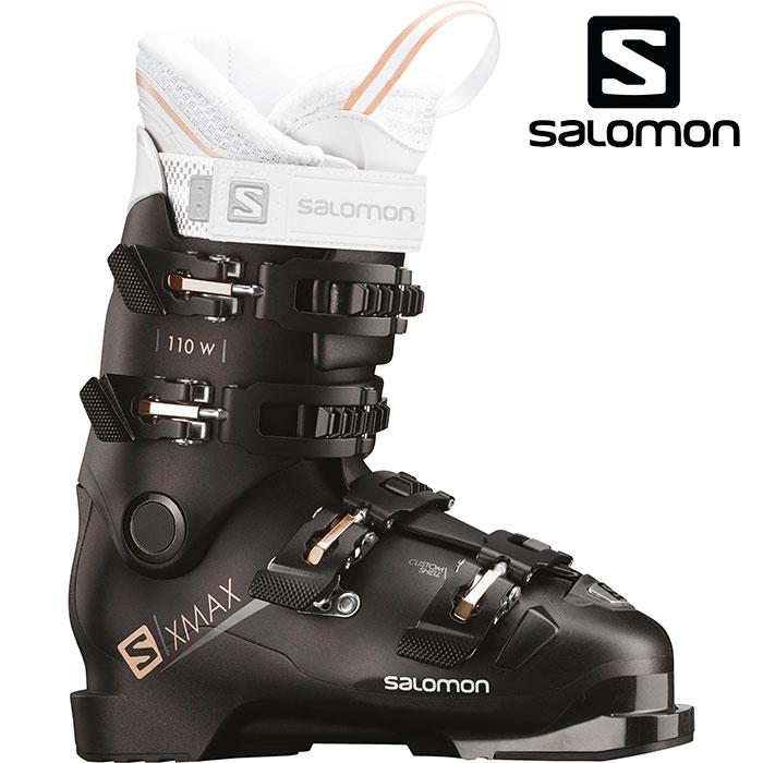 [11/16まで 10%OFFクーポンあり] SALOMON サロモン 18-19 スキーブーツ X MAX 110 W エックスマックス 110W〔2019 オールラウンドモデル 上級者 女性用〕 (Black-Metablack):L40549600