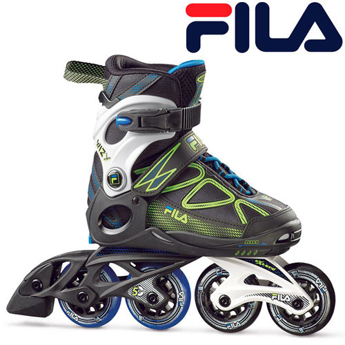 スキーアウトレットセール開催中 FILA フィラ ジュニア インラインスケート WIZY 〔black/lime/lightblue〕 サイズ調整可能 INLINESKATE: