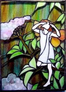 【税込・送料無料】ステンドグラスCicely Mary Barker☆〔The Elder Fairy(ミニパネル)〕auktn【YDKG-kj】