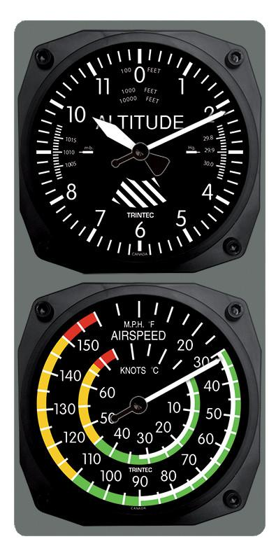 【Trintec Altimeter/Airspeed Clock & Thermometer Set】 トリンテック 航空計器 掛け時計 & 温度計 9060/9061