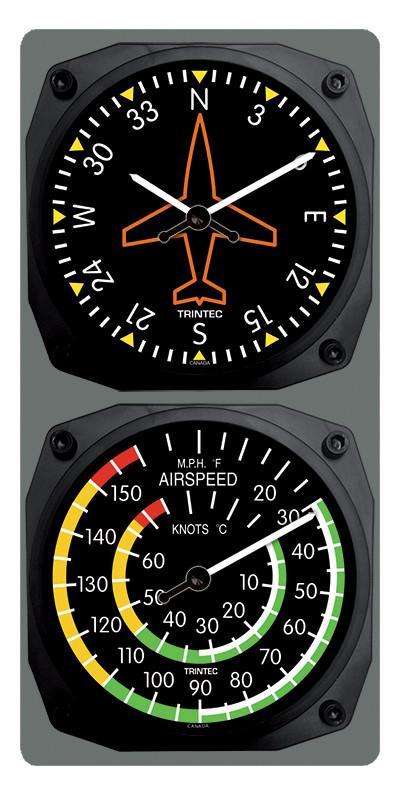 【Trintec Directional Gyro/Airspeed Clock & Thermometer Set】 トリンテック 航空計器 掛け時計 & 温度計 9062/9061