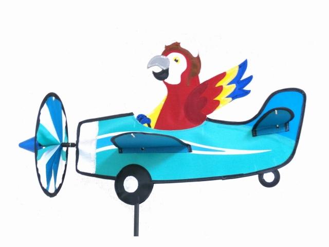 【ガーデンアクセサリー】 飛行機とオウムのウインドスピナー (風車、かざみどり)