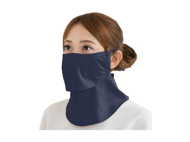 散歩 ジョギングにおススメのフェイスマスク Yakenu マーケット 爽クール ネイビー UVカットマスク 希少
