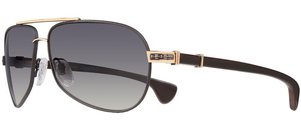 f35c6ffe8e5 Chrome Hearts GRAND BEAST Sunglasses Matte Black Gold Plated - Wood Ebony  Walnut Ebony Piano Varnish