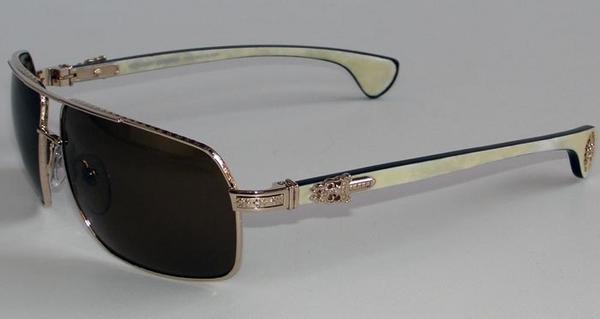 d8890e74306 SKYTREK  MOOREHEAD GOLD WHITE EBONY WOOD chrome hearts sunglasses ...
