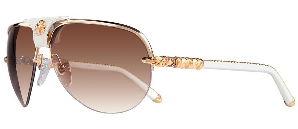 fd90bfa6c9b SKYTREK  BALLS chrome hearts sunglasses Gold - White Leather ...