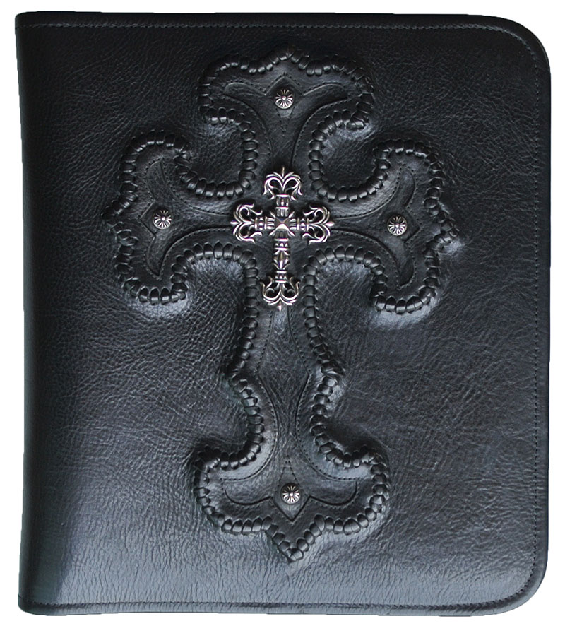 CHROME HEARTS FILIGREE CROSS PORTFOLIO chrome photo album black leather filigree cross-