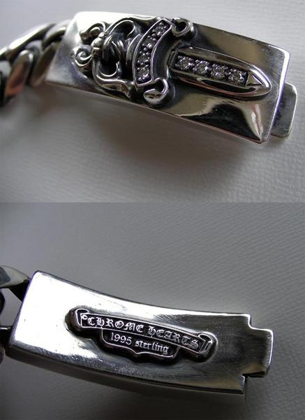 SKYTREK: Rare chrome ID Bracelet dagger / diamond ...