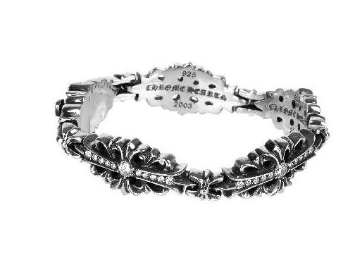 Skytrek Chrome Hearts Bracelet Floral Cross Link Pave Diamond