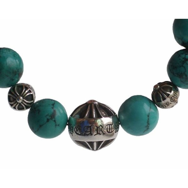 CHROME HEARTS 12MM TURQUOISE BEADS & 3 SILVER BEADS BRACELET chrome Hertz beads breath turquoise beads silver 12mm