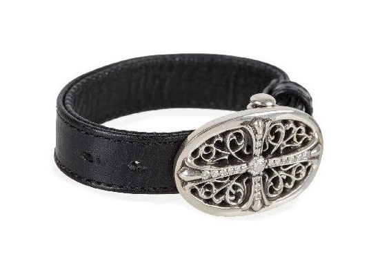 Skytrek Chrome Hearts Tiny Oval Bracelet Blk Leather Pave Diamond
