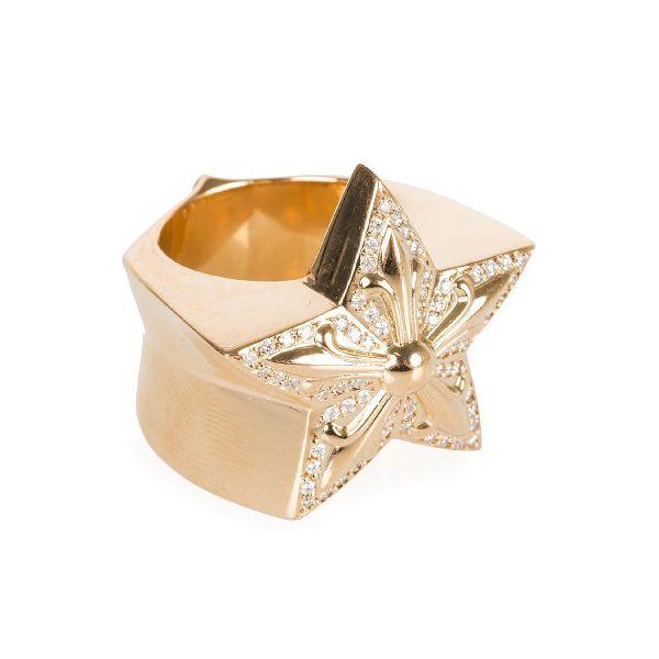 CHROME HEARTS LARGE STAR RING PAVE DIAMOND クロムハーツ ラージスター リング パヴェダイヤ 22金