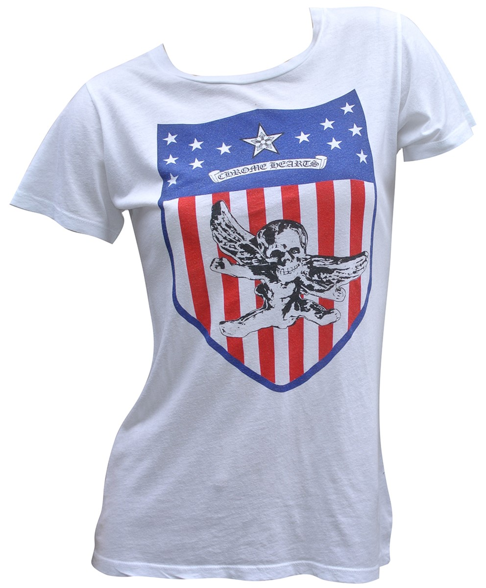 CHROME HEARTS LADIES HALF SLEEVE T-SHIRT USA FLAG クロムハーツ レディースTシャツ USA FOTI 【中古】