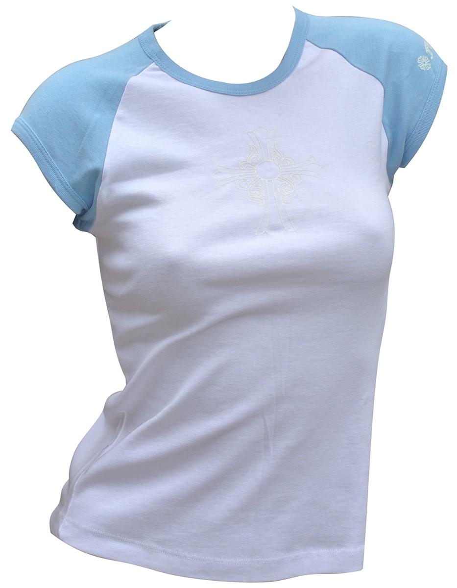 CHROME HEARTS LADIES HALF SLEEVE T-SHIRT クロムハーツ レディースTシャツ 半袖 クロス 白/水色