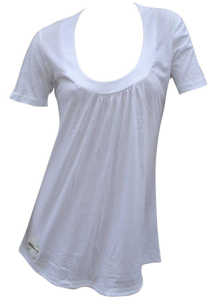 CHROME HEARTS LADIES T-SHIRT WHITE SILVER LOGO クロムハーツ レディースTシャツ チュニック レザーパッチ付 ホワイト