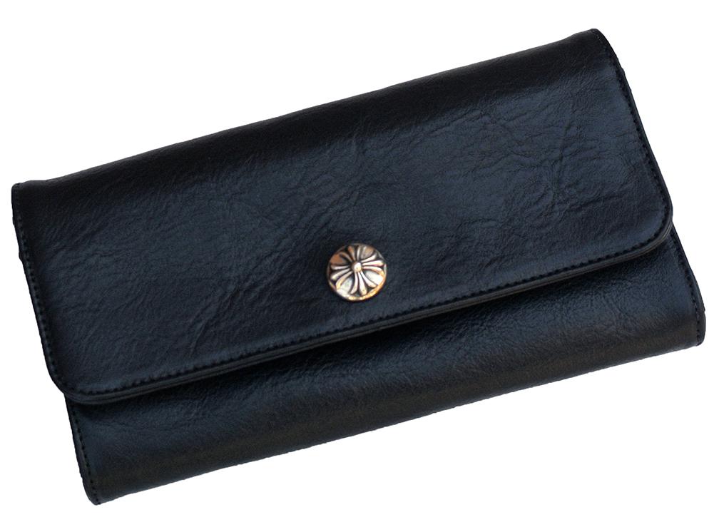 93e1100b758d WALLET JUDY HEARTS CHROME BLACK ブラックレザー クロスボタン JUDY ウォレット クロムハーツ-レディース財布