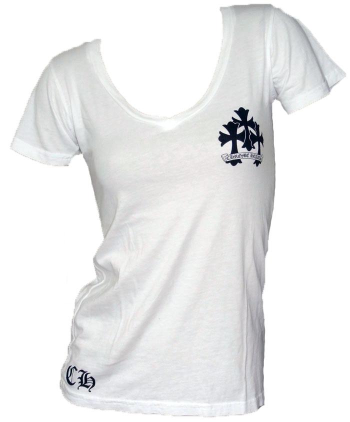 白铬女子短 T 袖衬衫 V 脖子新跨