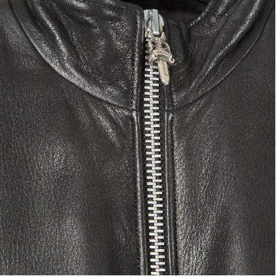 铬的心男人完美皮革夹克侧拉链镀铬男士完美皮夹克侧拉链