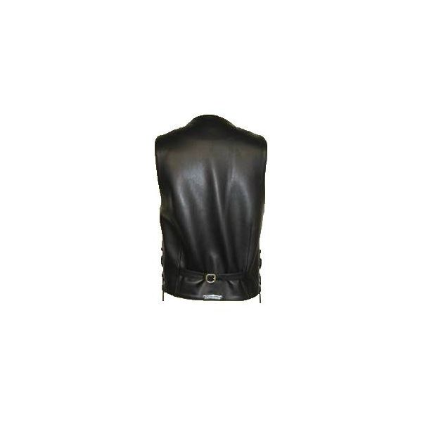 Chrome hearts leather vest BS flare silver button / zip mens