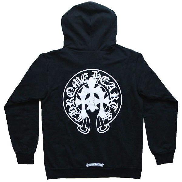 铬的心连帽衫邮编 HORSESHOE/CROSS 黑铬心席卷帕克公墓交叉和马蹄形黑色 XL