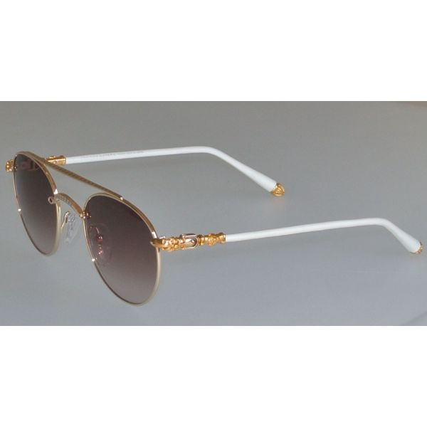 0bb648b8b3a7 SKYTREK  BUBBA chrome hearts sunglasses GOLD WHITE LEATHER glasses ...