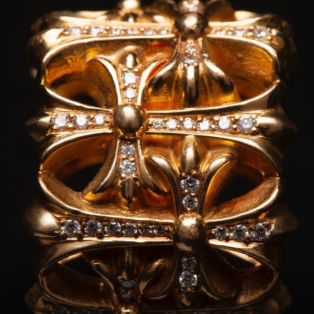 CHROME HEARTS CEMETERY RING 22K DIAMOND クロムハーツ セメタリーリング 22金 パヴェダイヤ