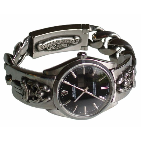 CHROME HEARTS WATCH BRACELET DAGGER ROLEX BLACK FACE chrome hearts Bracelet Watch dagger Rolex OYSTER PERPETUAL black