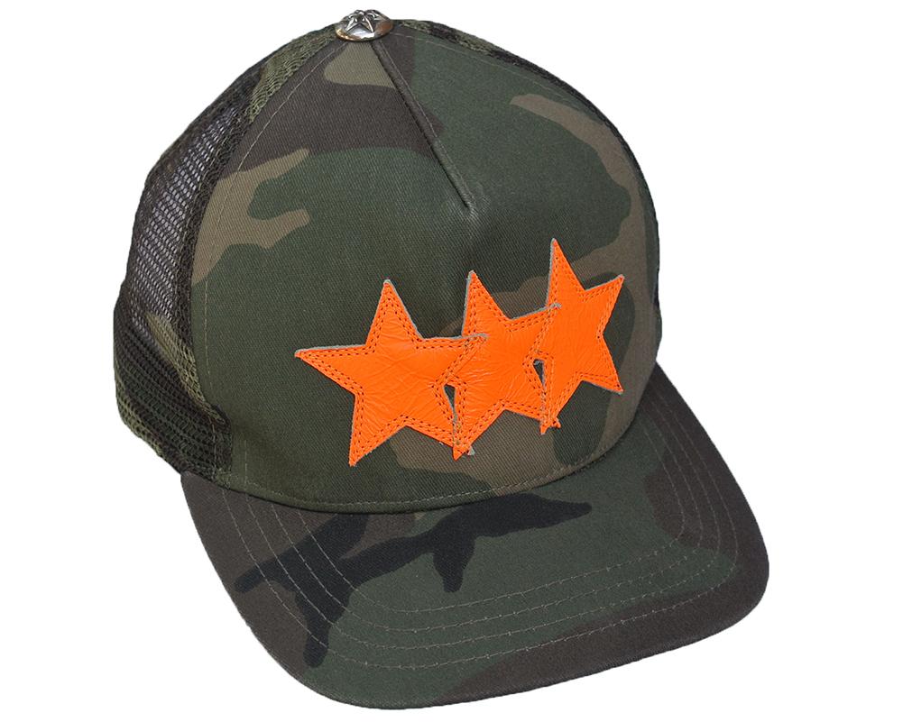 CHROME HEARTS TRUCKER CAP 3 STARS CAMO クロムハーツ トラッカーキャップ 3 STARS カモフラージュ/橙【中古】