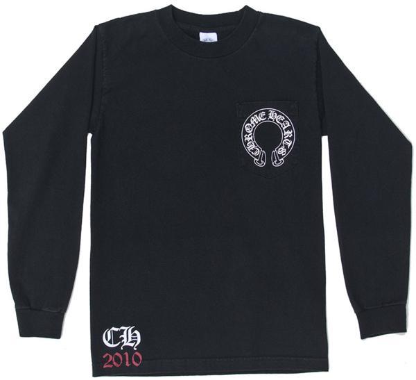 CHROME HEARTS MENS T-SHIRT BLACK CREW クロムハーツ メンズ長袖Tシャツ ブラック CREW 【中古】