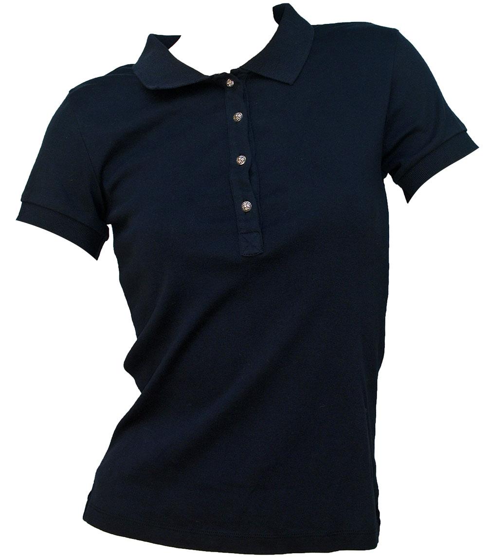 CHROME HEARTS POLO SHIRT BLACK LADIES クロムハーツ 半袖ポロシャツ ブラック シルバーボタン【中古】