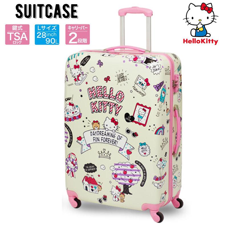 ハローキティ スーツケース Lサイズ 90L 軽量 TSAロック搭載 ABS製 キャリーバッグ キャリーケース 旅行鞄 サンリオ Hellokitty かわいい おしゃれ キャラクター グッズ (メーカー直送、代金引き不可)