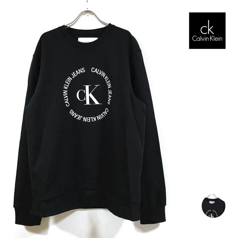 ブラック M L XL Calvin Klein Jeans カルバンクラインジーンズ monogram circle crew スウェット トレーナー 長袖 裏起毛 アメカジ ロングスリーブ 40GM862 黒 ファッション 売れ筋 メンズ プリント カジュアル ストリート系 モード モノグラム 年末年始大決算 トップス サークルロゴ 送料無料