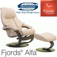 フィヨルド リクライニングチェア アルファ Cベースチェア+フットスツールセット(レザータイプ:ソフトライン)【送料無料】Fjords Alfa シモンズ 革 椅子 書斎 リビング 北欧