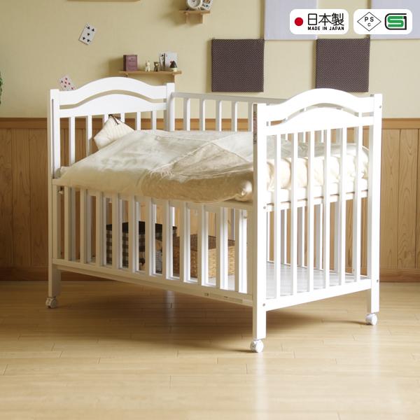 日本製ベビーベッド「NEW アリス WH(ホワイト)」 ハイタイプ 石崎家具
