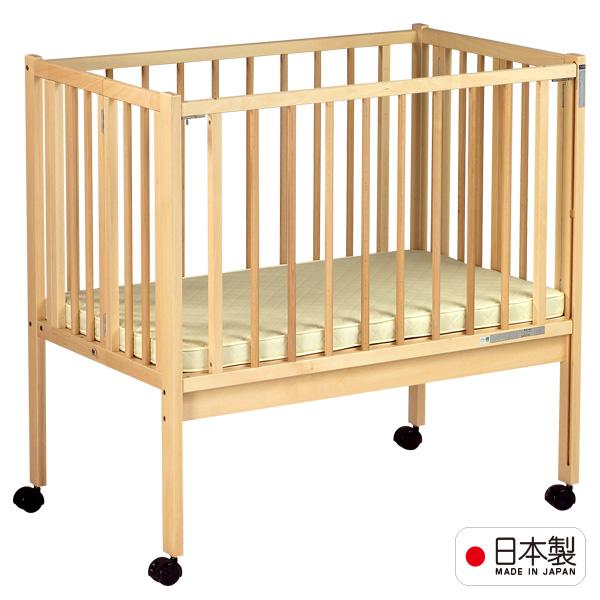 日本製ベビーベッド「業務用 折りたたみベッド(マット付)」 折りたたみ 保育園 ホテル 施設 石崎家具