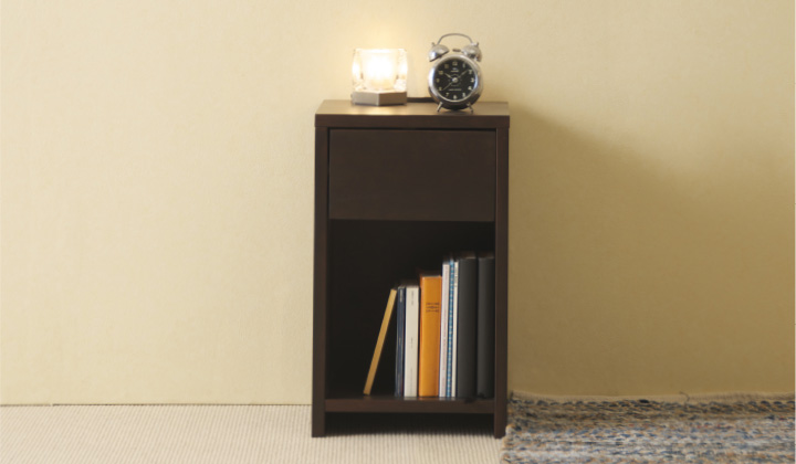 「木製ナイトテーブル(引出し付)」 サイドテーブル コンセント付 石崎家具