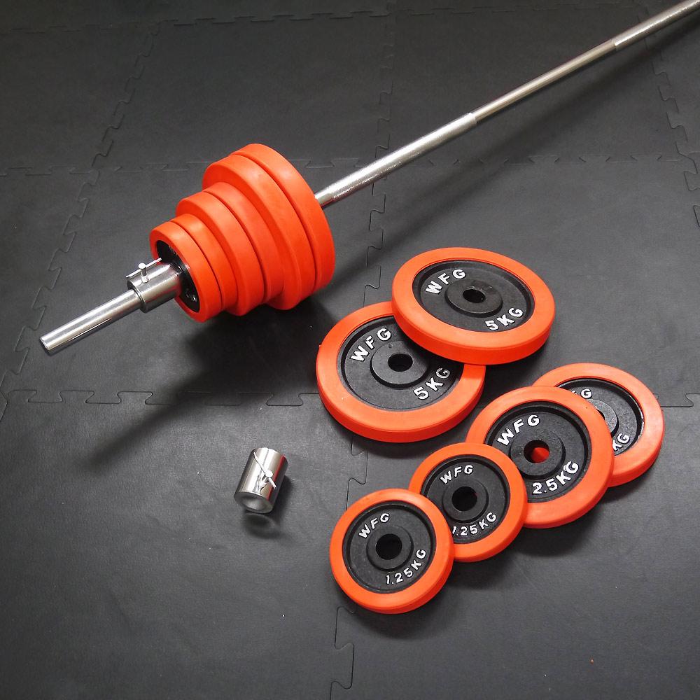 赤ラバーバーベルセット45kg[WILD FIT ワイルドフィット]送料無料 筋トレ バーベル ウエイト トレーニング ベンチプレス
