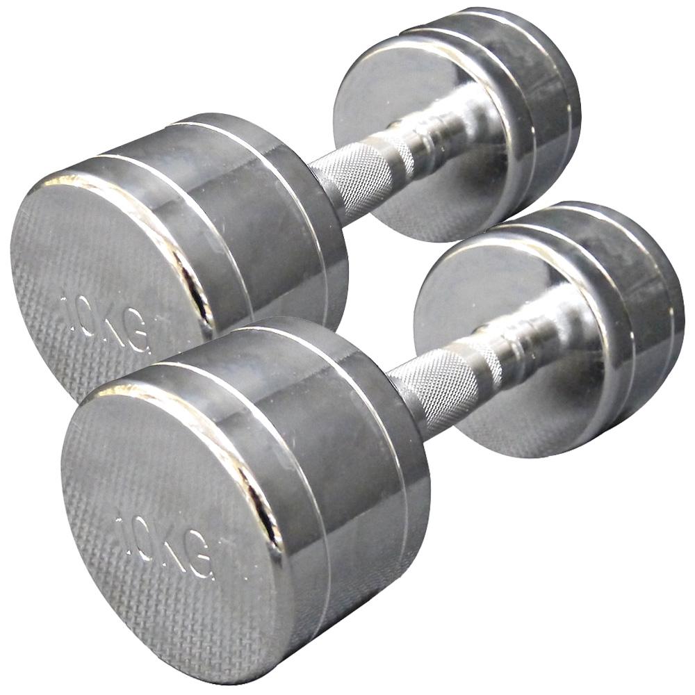 固定式クローム 10kg 2本セット[Slim Fit スリムフィット]送料無料 ダンベル ウエイト 筋トレ トレーニング 腹筋 背筋 ベンチプレス ジム 鉄アレイ