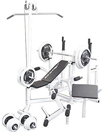 マルチトレーニングジムセット 白ラバー140kg[Slim Fit Gym スリムフィット]送料無料 バーベル ベンチプレス トレーニングマシン 自宅 スクワット 大胸筋 腹筋