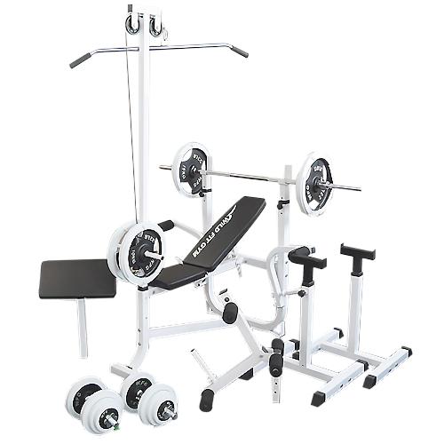 マルチセーフティージムセット 白ラバー100kg[WILD FIT ワイルドフィット] 送料無料 バーベル ベンチプレス トレーニング ウエイト プレート スクワット 大胸筋 腹筋