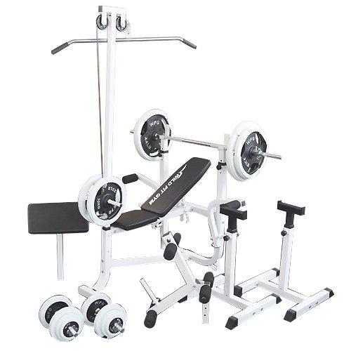 マルチセーフティージムセット 白ラバー140kg [Slim Fit スリムフィット] 送料無料 バーベル ベンチプレス トレーニング器具 スクワット 大胸筋 腹筋